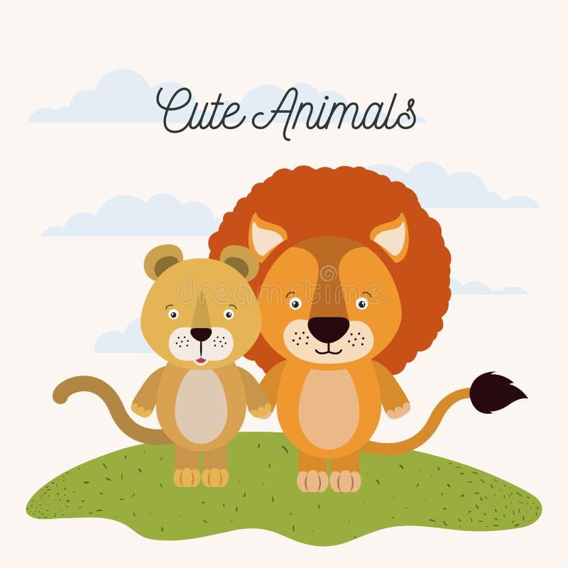 Biały tło z kolor sceny pary lwicy i lwa ślicznymi zwierzętami w trawie royalty ilustracja