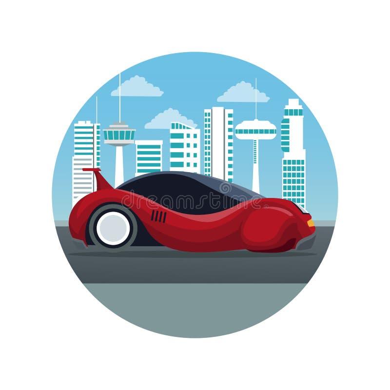 Biały tło z kurendy ramy miasta krajobrazu futurystyczną sylwetką z kolorowego sporta czerwonym nowożytnym samochodem royalty ilustracja
