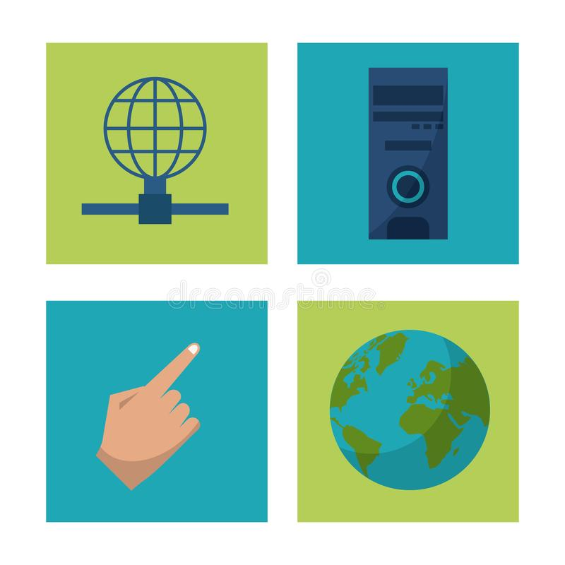 Biały tło z kwadrat ram grafika z ikonami ziemia, komputer mainframe i globalna sieć ręki i kuli ziemskiej ilustracji