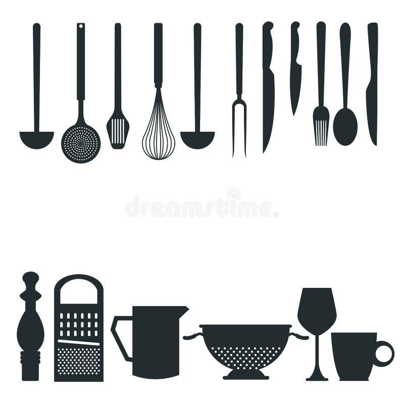 Biały tło z monochromatycznej sylwetki różnymi naczyniami kuchni granicy styl ilustracji