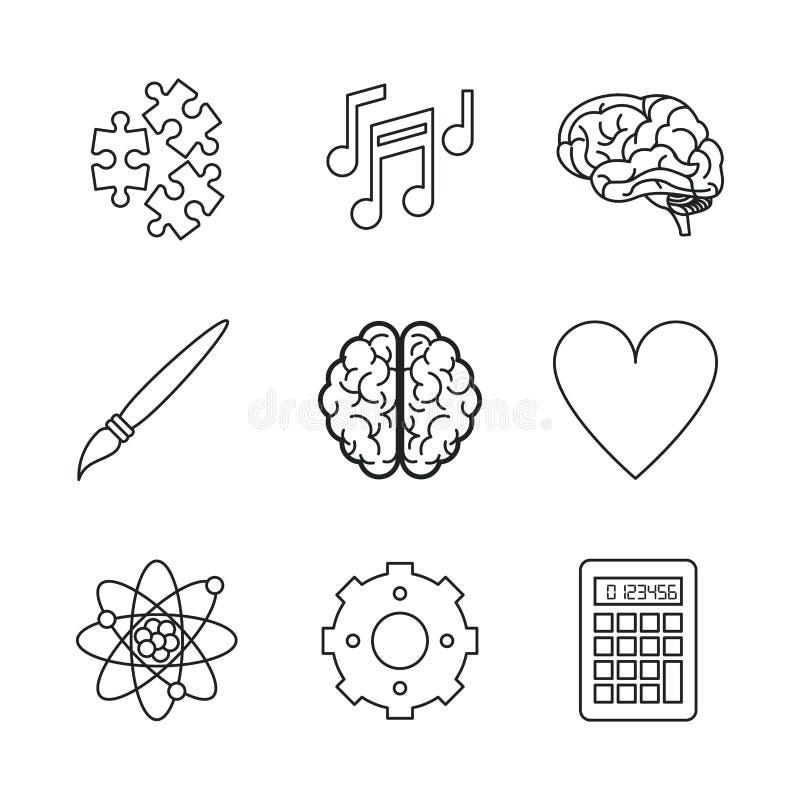 Biały tło z monochromatycznymi ikonami móżdżkowy lub kreatywnie umysł royalty ilustracja