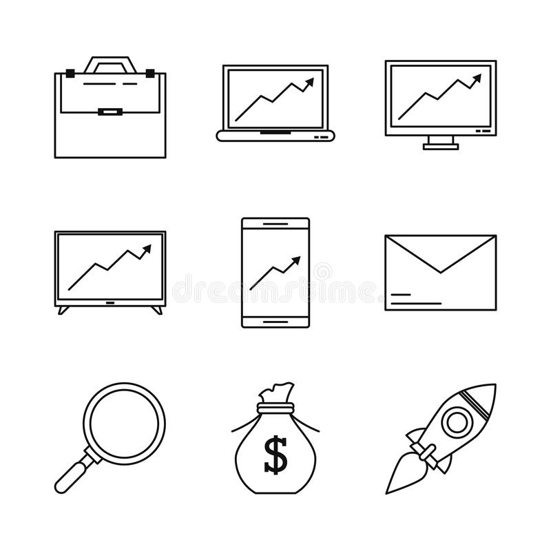 Biały tło z monochromatycznymi ikonami odnosić sie tłoczyć się finansowania zarządzanie royalty ilustracja