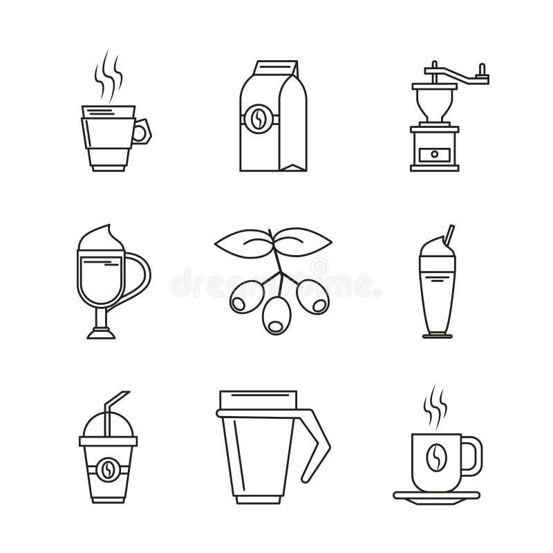 Biały tło z monochromatycznymi sylwetkami napoje lub elementy z kawą royalty ilustracja