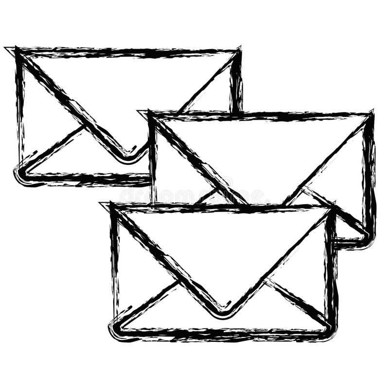 Biały tło z monochromem zamazywał set koperty poczta royalty ilustracja