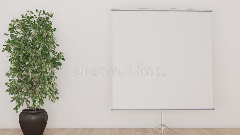 Biały tło z projekcyjnym ekranem i dużą rośliny 3D ilustracją royalty ilustracja