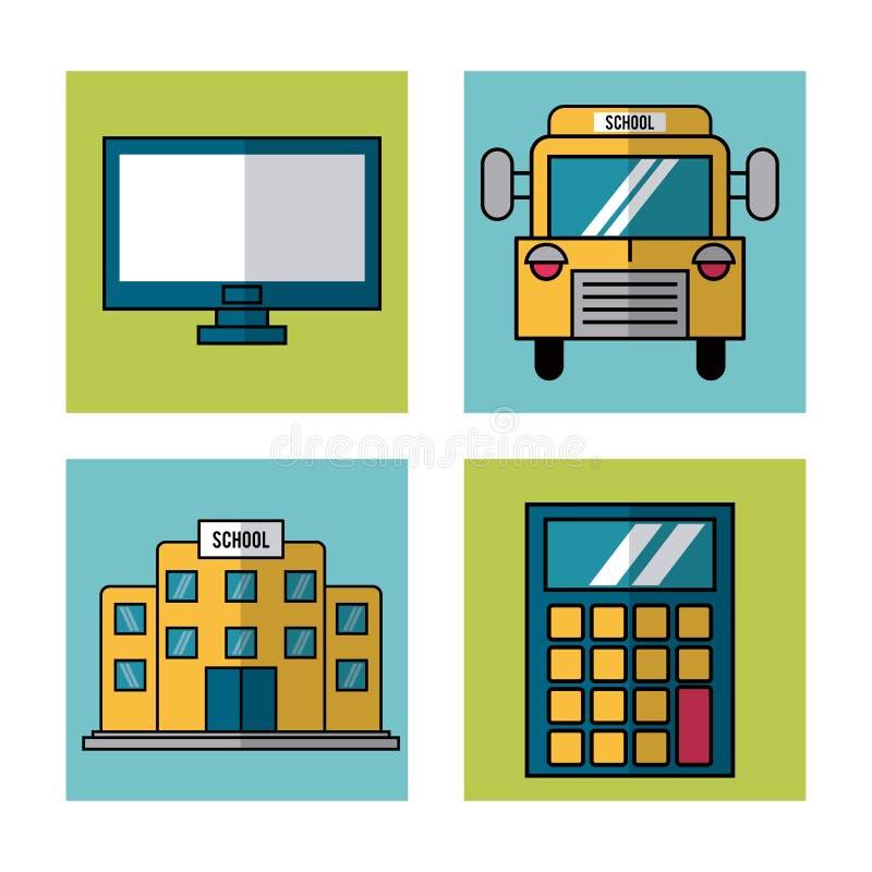 Biały tło z ramami szkolni elementy autobus, komputer, kalkulator i budynek szkoły royalty ilustracja
