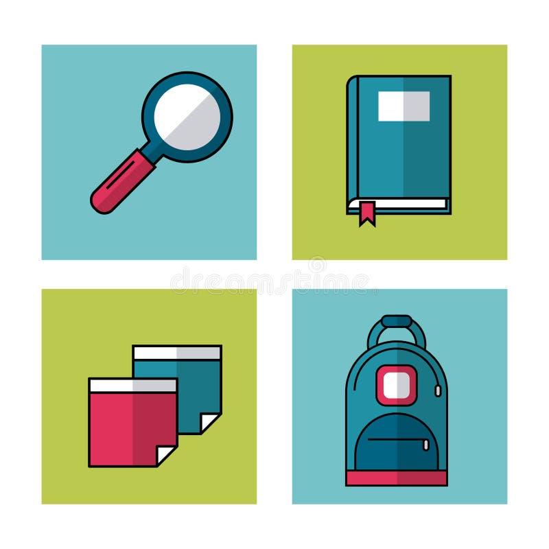 Biały tło z ramami szkolni elementy powiększa - szkło, książka, prześcieradła i plecak ilustracji