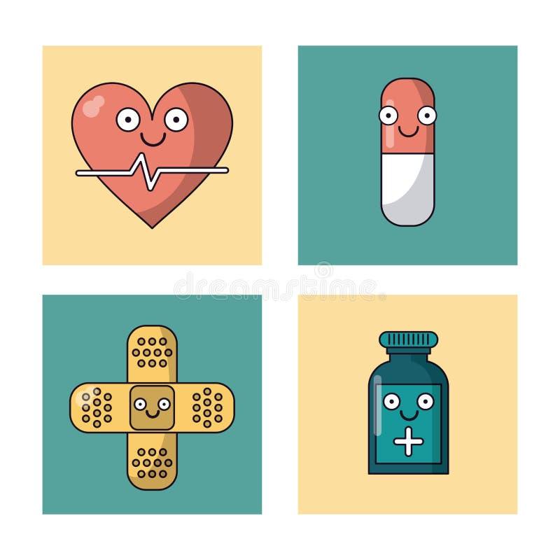 Biały tło z setem ramy z kierową pomocą i medycyny butelką pulsu, pigułki i zakazu ilustracji
