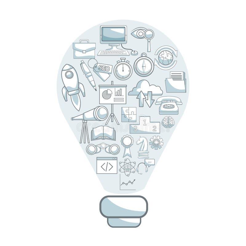 Biały tło z sylwetka koloru sekcj cienić żarówka kształta rozwiązanie z ikona rozwojem biznesu ilustracja wektor