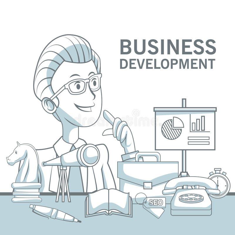 Biały tło z sylwetka koloru sekcj cienić zbliżenie elementów i mężczyzna wykonawczy rozwój biznesu ilustracji