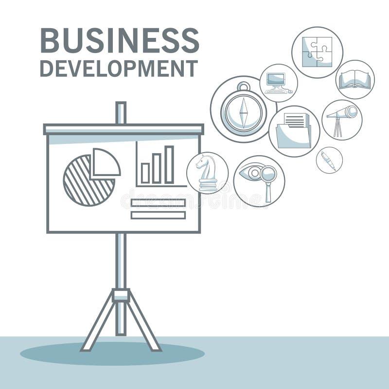 Biały tło z sylwetka koloru sekcj cienić zbliżenie prezentaci deska z statystykami i ikonami biznesowymi royalty ilustracja