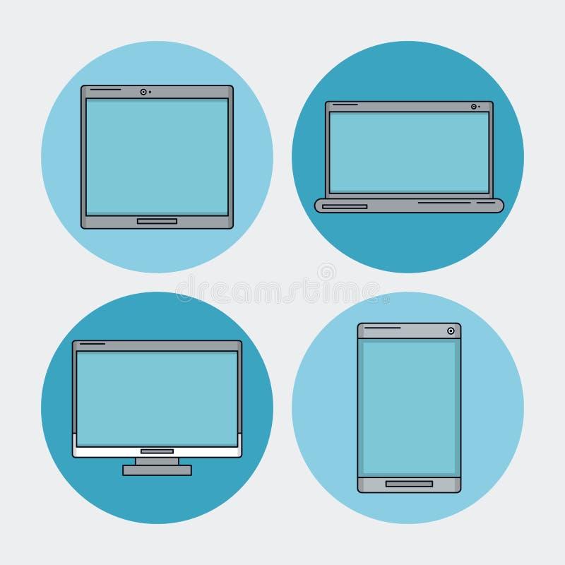 Biały tło z technika przyrządem jako laptop, komputer stacjonarny, pastylka i smartphone w błękitnych okręgach ilustracji