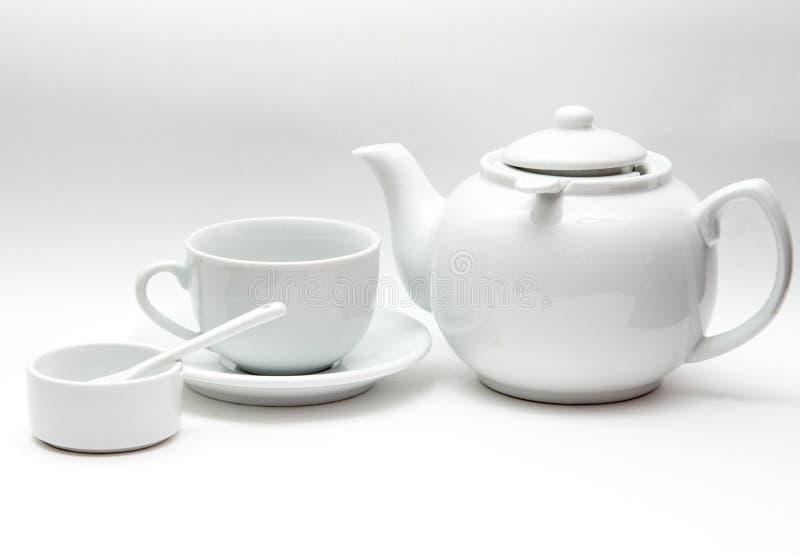 Biały tableware, wielki czajnik, filiżanka, puchar zdjęcia stock