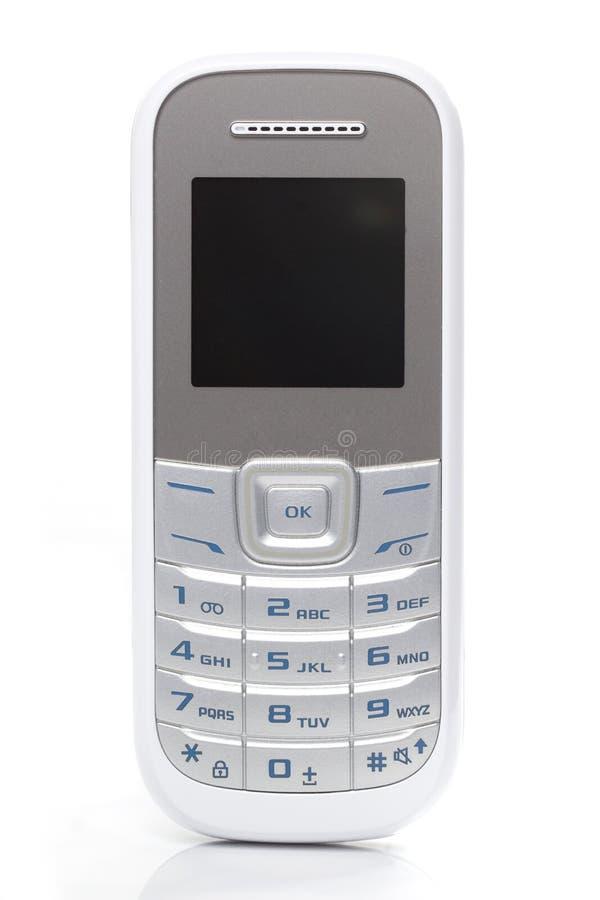 Biały telefon komórkowy na Białym tle obraz stock