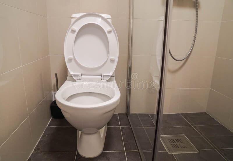 Biały toaletowy puchar z prysznic kabiną na luksusowy hotel łazience zdjęcia royalty free