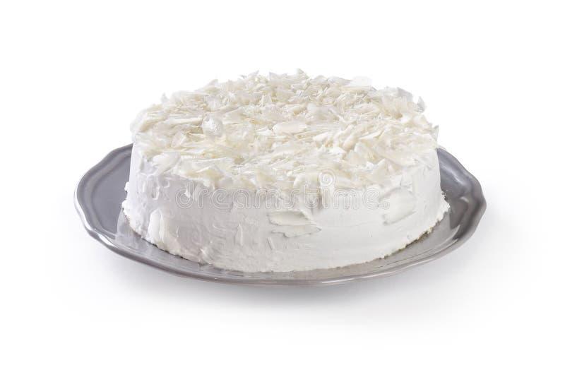 Biały tort odizolowywający na białym tle obrazy royalty free