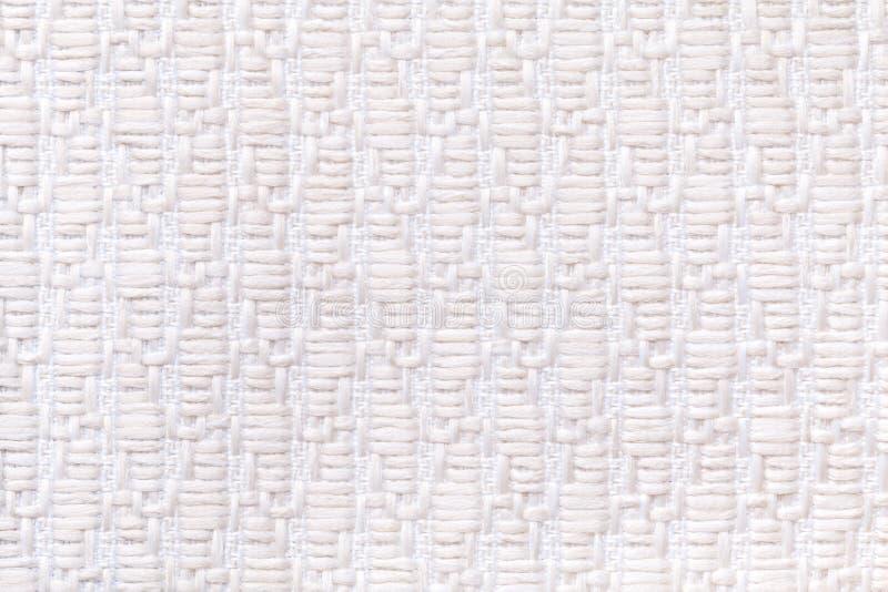 Biały trykotowy woolen tło z wzorem miękka część, wełnisty płótno Tekstura tekstylny zbliżenie zdjęcia royalty free