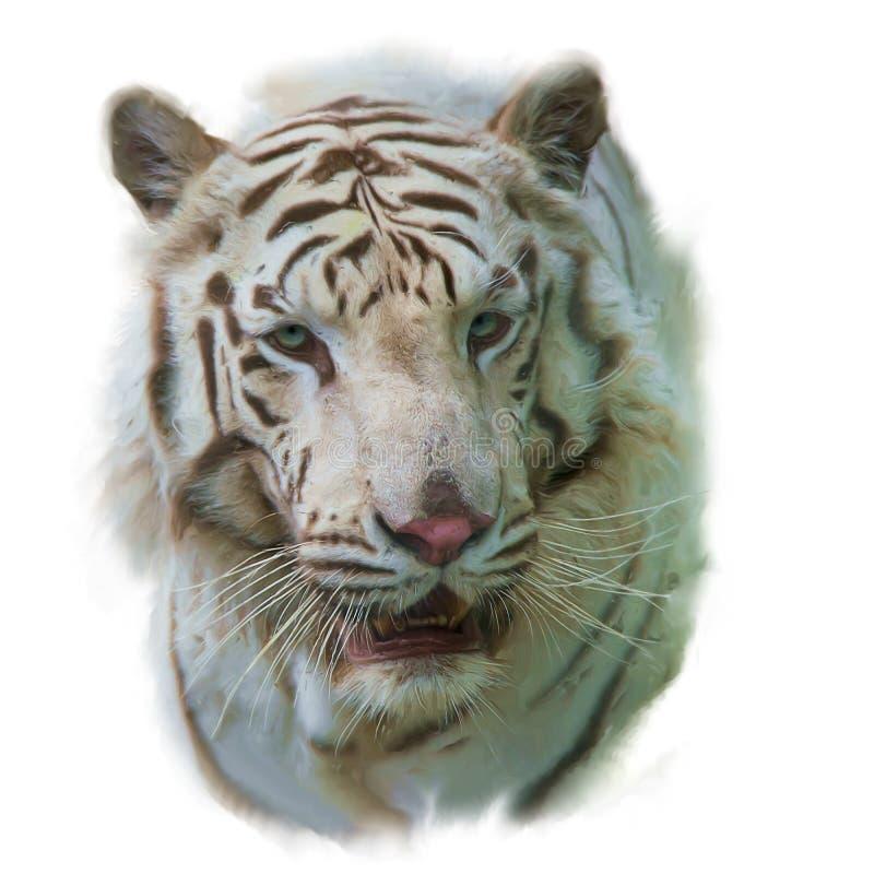 Biały tygrysi akwarela obraz zdjęcie stock