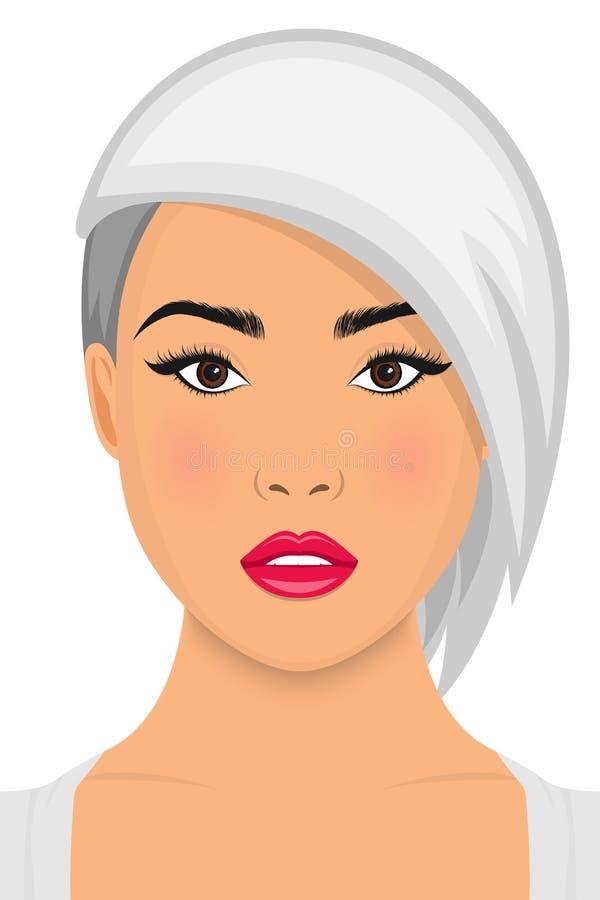 Biały włosy, piękna kobieta piękno twarzy eps wektor ilustracji