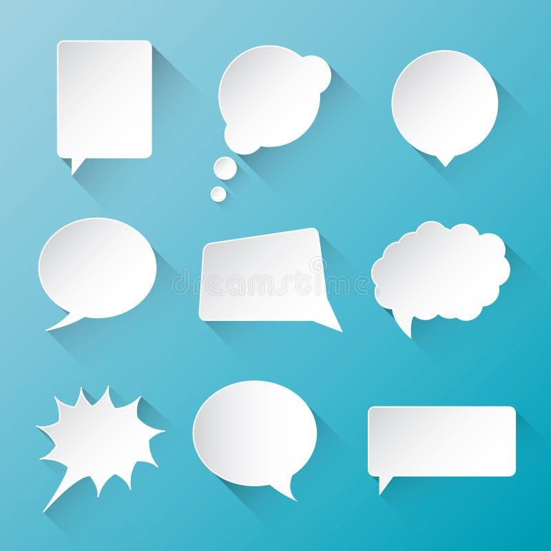 Biały wektorowy komunikacyjny mowa bąbel chmurnieje wi ilustracja wektor