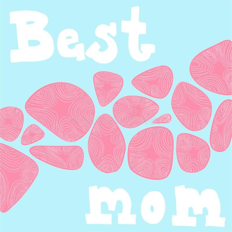 Biały wektorowy literowanie «Najlepszy mama «na bławym tle ilustracji