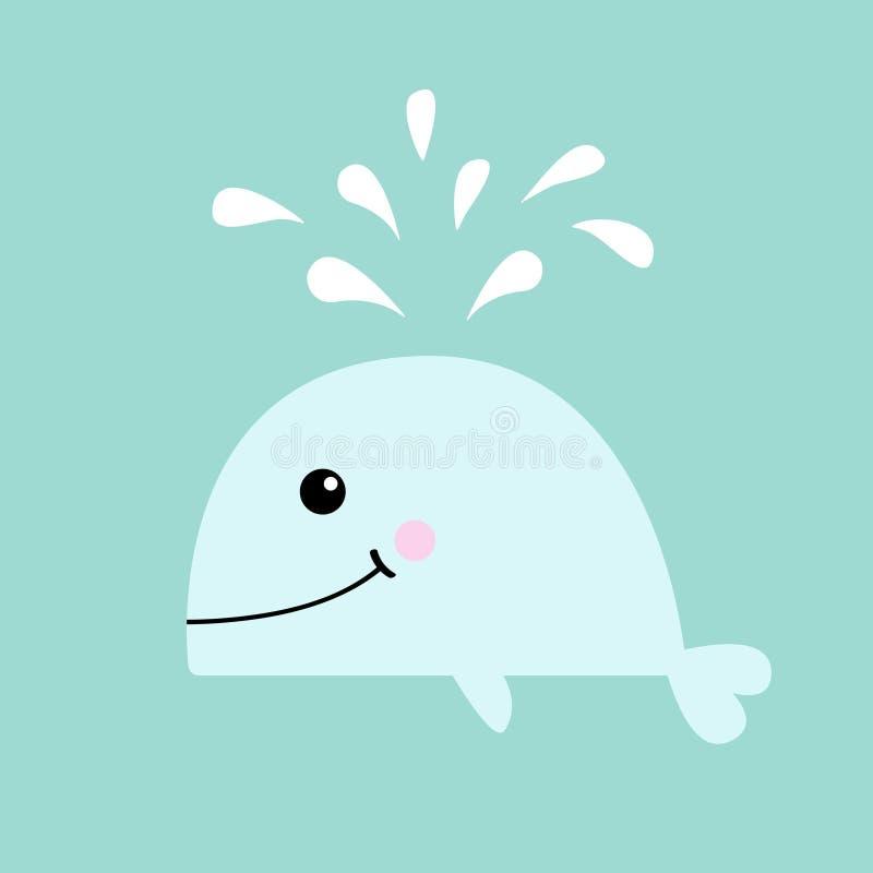 Biały wieloryb z wodną fontanną Denny oceanu życie Śliczny postać z kreskówki z oczami, ogon, żebro uśmiechnięta twarz Żartuje dz ilustracji