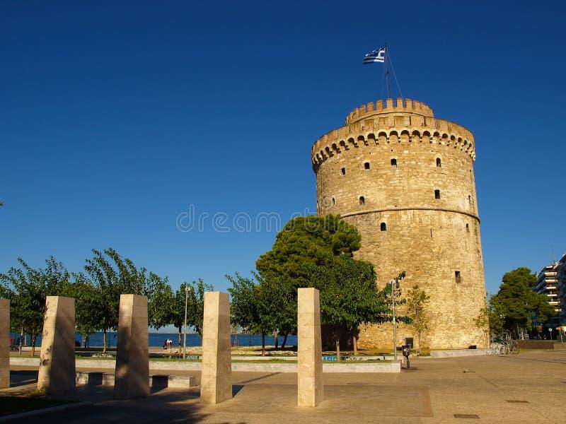 Biały wierza Saloniki na brzeg morze egejskie w Saloniki, Grecja fotografia stock