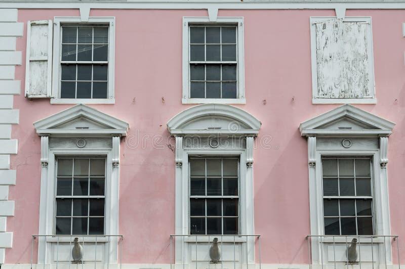 Biały Windows na Starym Różowym Rządowym budynku w Bahamas zdjęcie stock