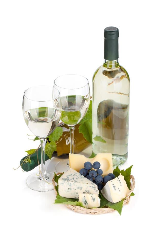 Biały wino ser i winogrono, obrazy royalty free