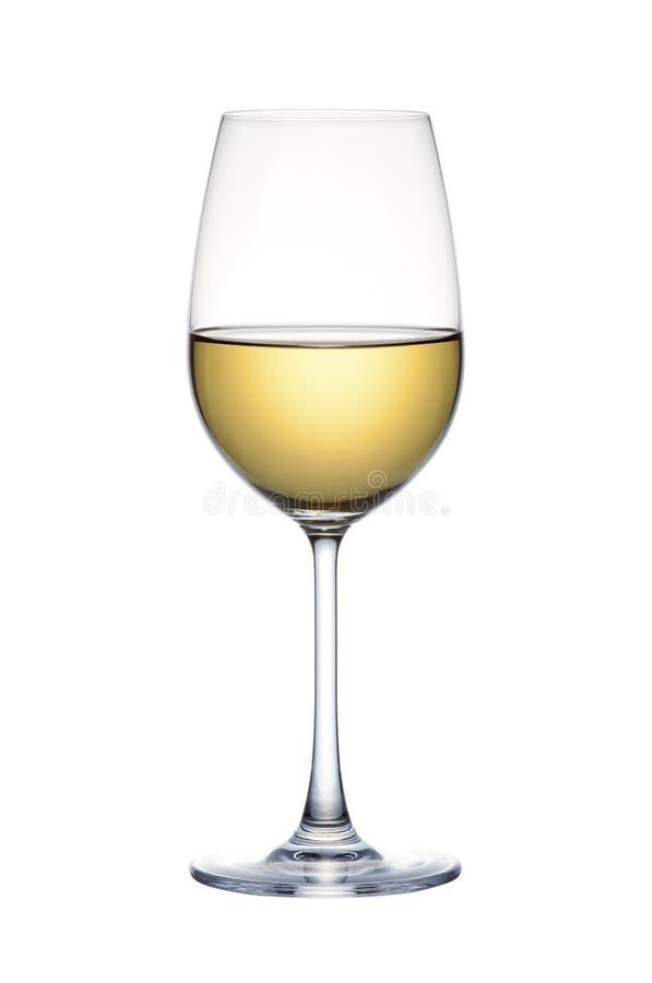Biały wino w szkle odizolowywającym nad białym tłem