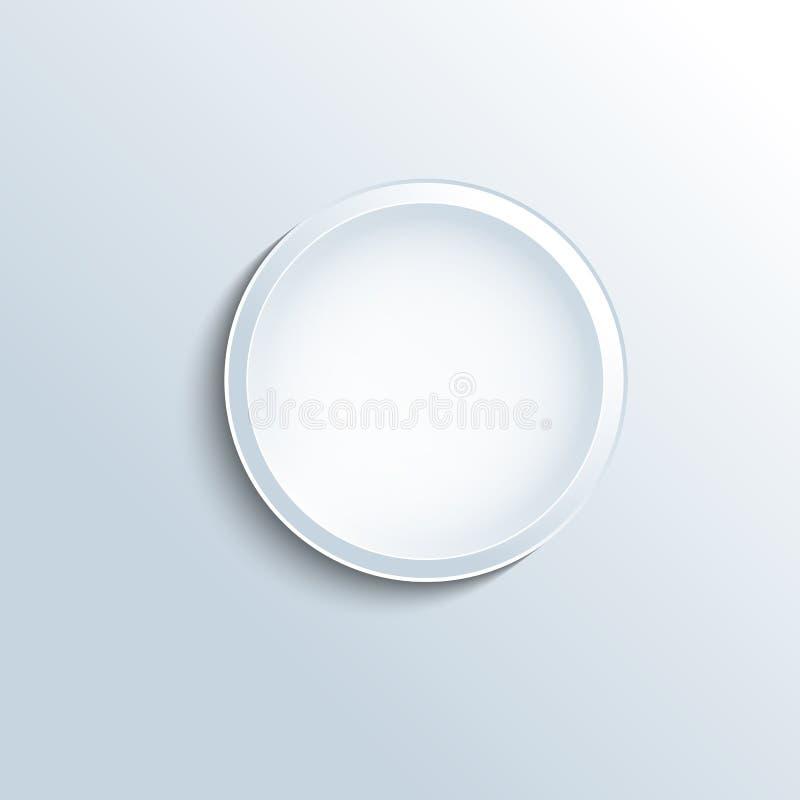 Biały wklęsły guzika wektor UI i interfejs dla zastosowania ilustracji