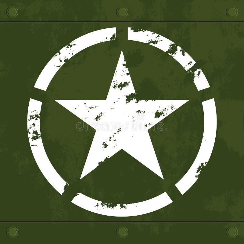 Biały wojskowy gra główna rolę na zielonym metalu ilustracja wektor