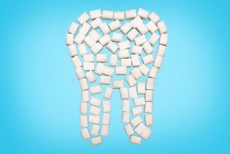 Biały ząb cukier przed błękitnym tłem obraz royalty free