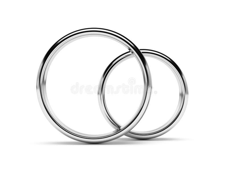 Biały złocistych pierścionków frontowy widok odizolowywający ilustracji