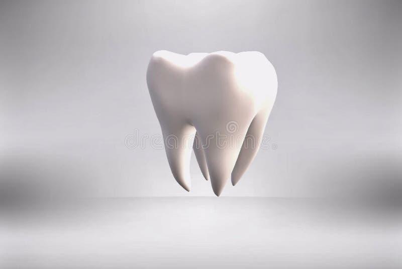 Biały zdrowy ząb na szarym tle w 3d formacie ilustracji