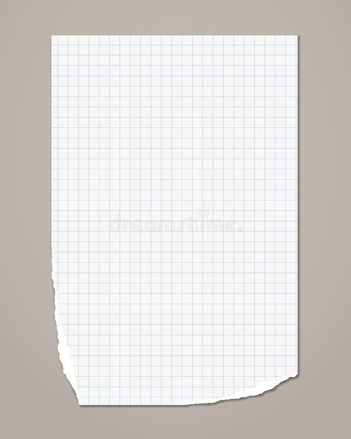 Biały, zgrany w kwadrat notebook, arkusz papieru do kopiarek jest na szarym tle. Ilustracja wektorowa ilustracja wektor