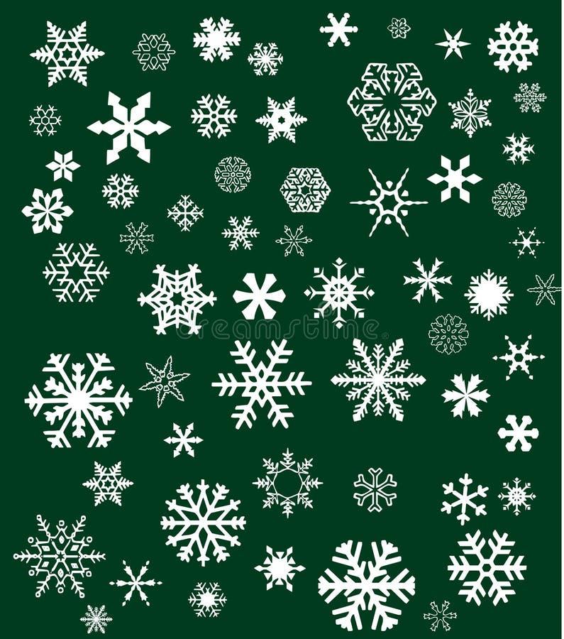 biały zieleni tło płatek śniegu royalty ilustracja