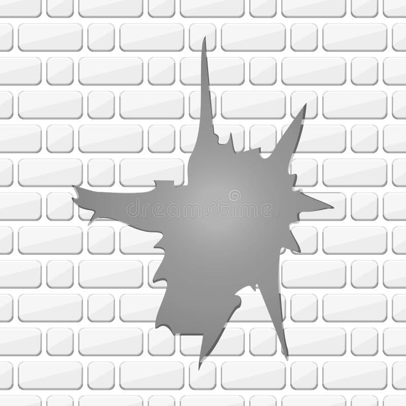 Biały zniszczony ściana z cegieł Nierówna krawędź Odłupane cegły Wektorowa cegła ilustracja wektor