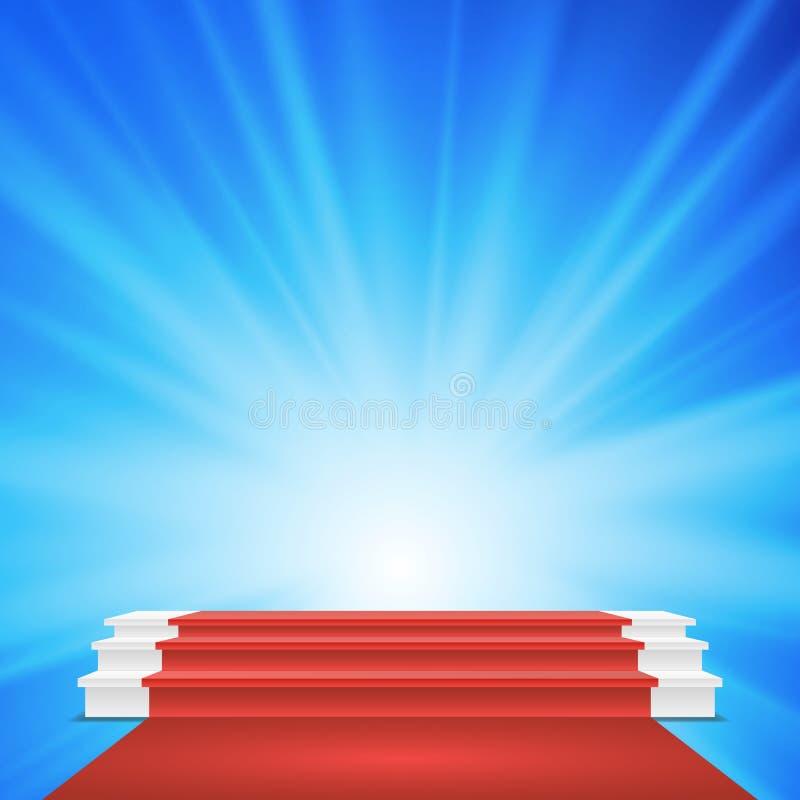 Biały zwycięzcy podium wektor Czerwony chodnik Reżyseruje dla nagrody ceremonii ilustracja ilustracja wektor