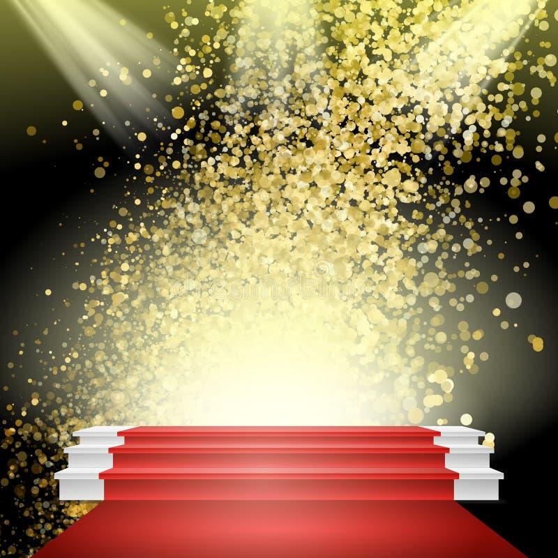 Biały zwycięzcy podium wektor Czerwony chodnik Złocista błyskotliwości chmura ilustracja wektor