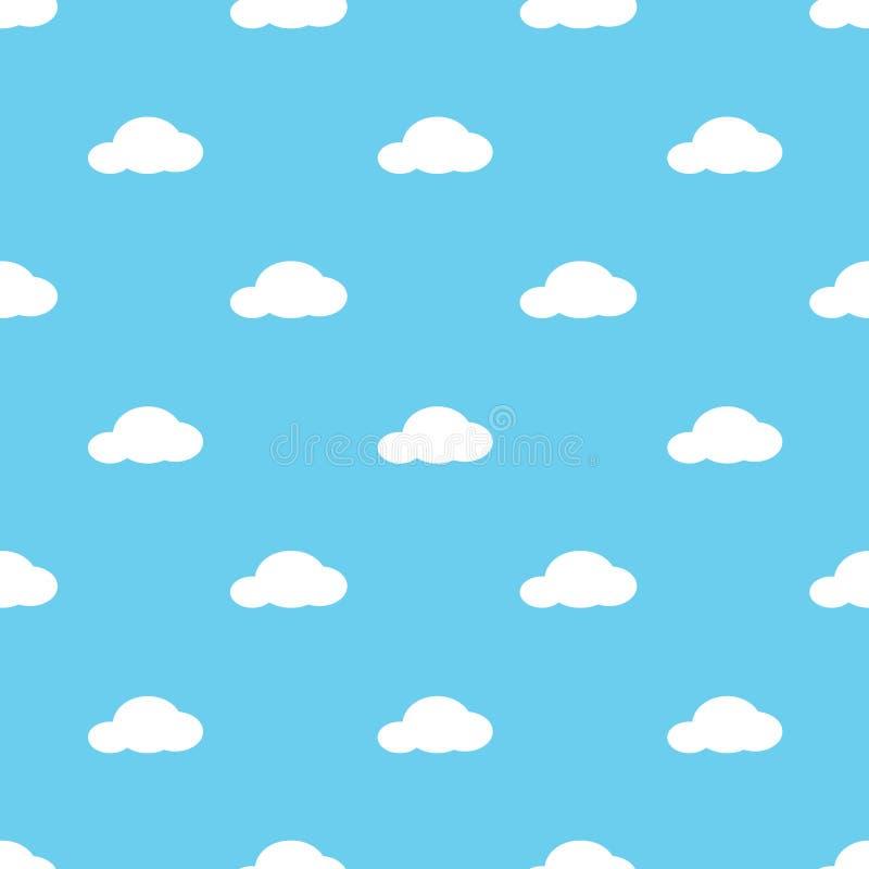 Białych chmur deseniowy tło i niebieskie niebo ilustracji