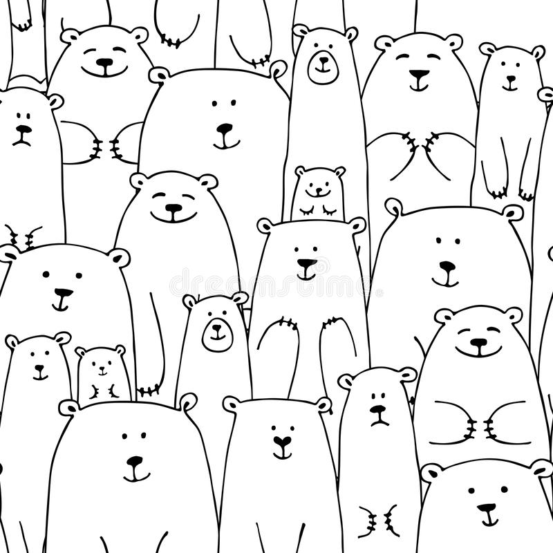 Białych niedźwiedzi rodzina, bezszwowy wzór dla twój projekta ilustracja wektor
