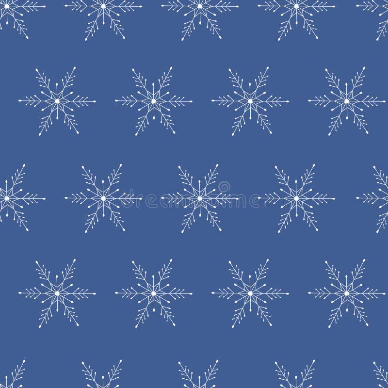 Białych płatek śniegu wektorowy zmrok - błękitny tło papierowy opakunku projekt dla prezenta Prezenta opakowanie Zima śnieg Wesoł royalty ilustracja