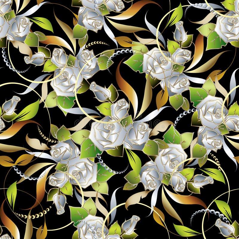 Białych róż rocznika kwiecisty bezszwowy wzór Wektorowy zawijasa bac ilustracji