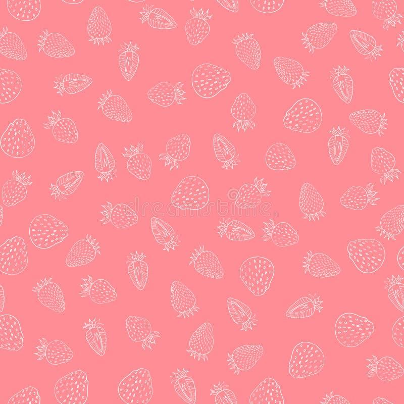 Białych truskawkowych jagod bezszwowy wzór na różowym tle royalty ilustracja