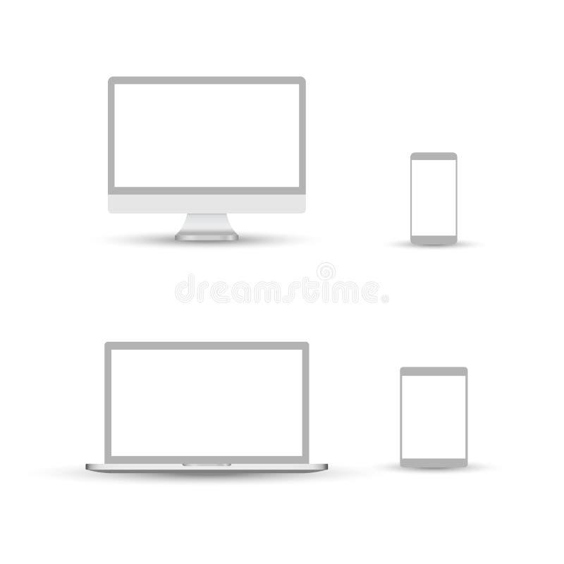 Bia?ej komputeru stacjonarnego pokazu ekranu smartphone pastylki przeno?ny notatnik lub laptop Konturu mockup elektroniki przyrz? ilustracja wektor