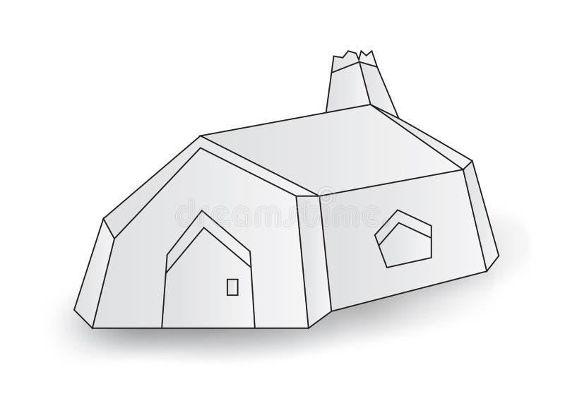Bia?y ma?y dom, domowa kabinowa wektorowa ilustracja, kresk?wka ilustracji