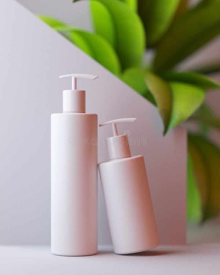 Bia?y projekt naturalna kosmetyczna ?mietanka, serum, skincare pusta butelka pakuje z li?cia ziele, ?yciorys organicznie produkt royalty ilustracja
