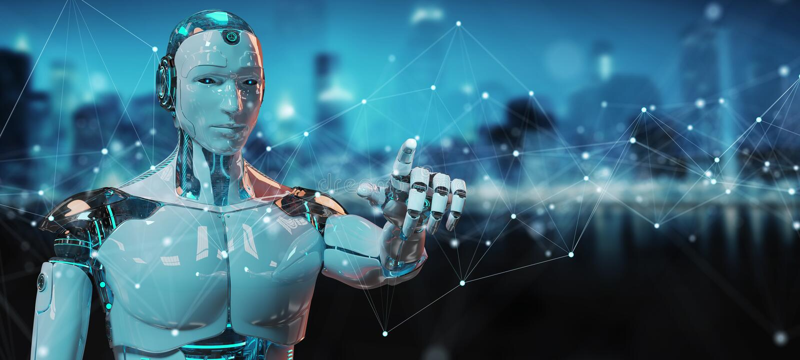 Bia?y robot u?ywa? sp?awowych cyfrowej sieci zwi?zki z kropkami i linii 3D renderingiem royalty ilustracja