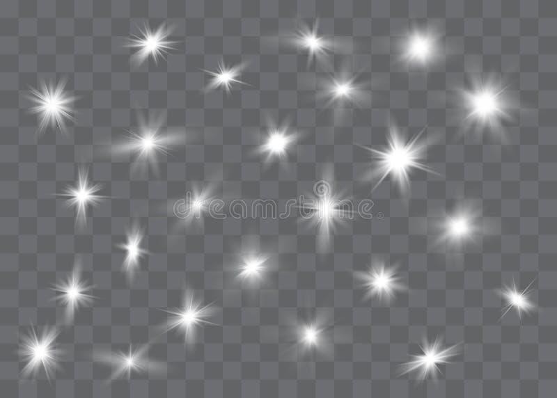 Bia?y rozjarzony ?wiat?o wybucha na przejrzystym tle Iskrzaste magiczne py? cz?steczki najja?niejsza gwiazda Przejrzysty ol?niewa ilustracja wektor